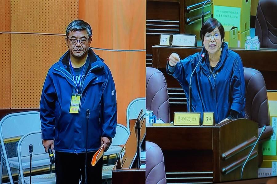 市議員劉茂群(右)要求校長到議事堂上說明。(甘嘉雯攝)