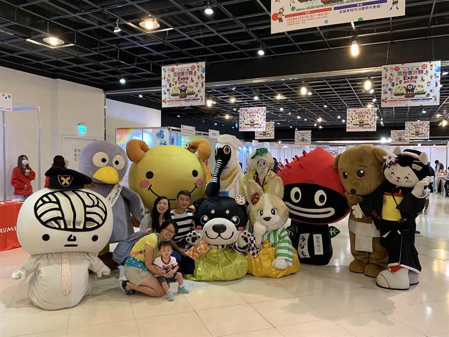 「日本當地吉祥物EXPO」首度跨海來台,今起在夢時代展出。(柯宗緯攝)