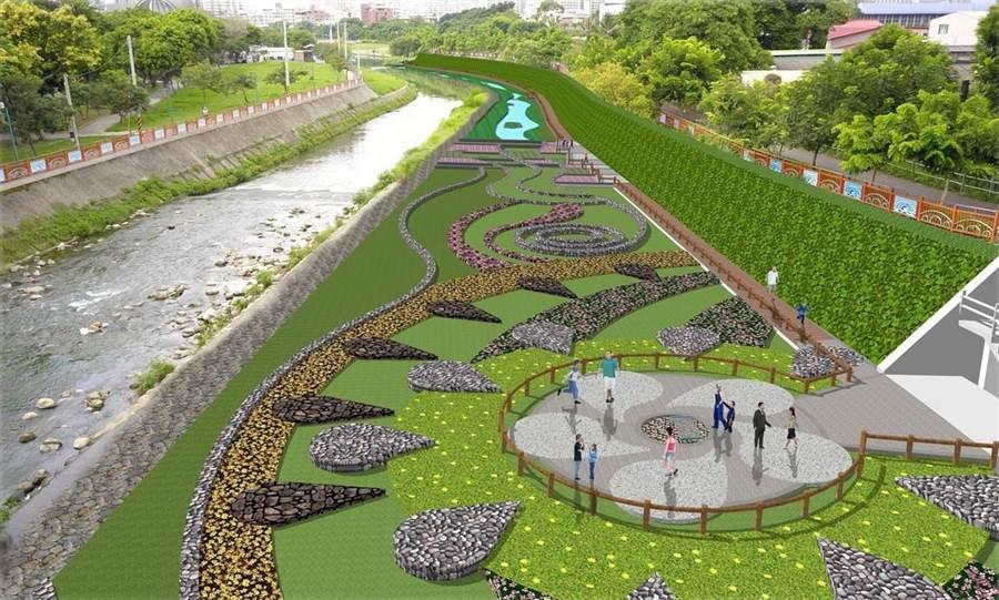 康橋水岸工程明年1月施工,旱溪排水國光橋旁將設置水質淨化場域。(模擬圖/台中市府提供)