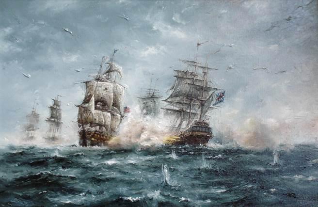 福蘭伯勒角海戰,好人理察號與塞拉比斯號戰成一團。(圖/warfarehistory)