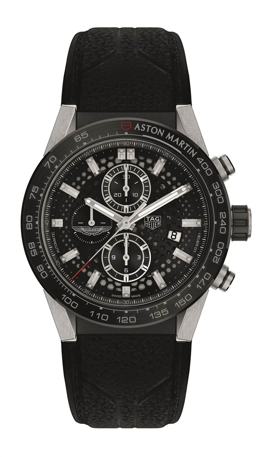 泰格豪雅Carrera Heuer 01 Aston Martin 聯名計時碼表,21萬2000元。(TAG Heuer提供)