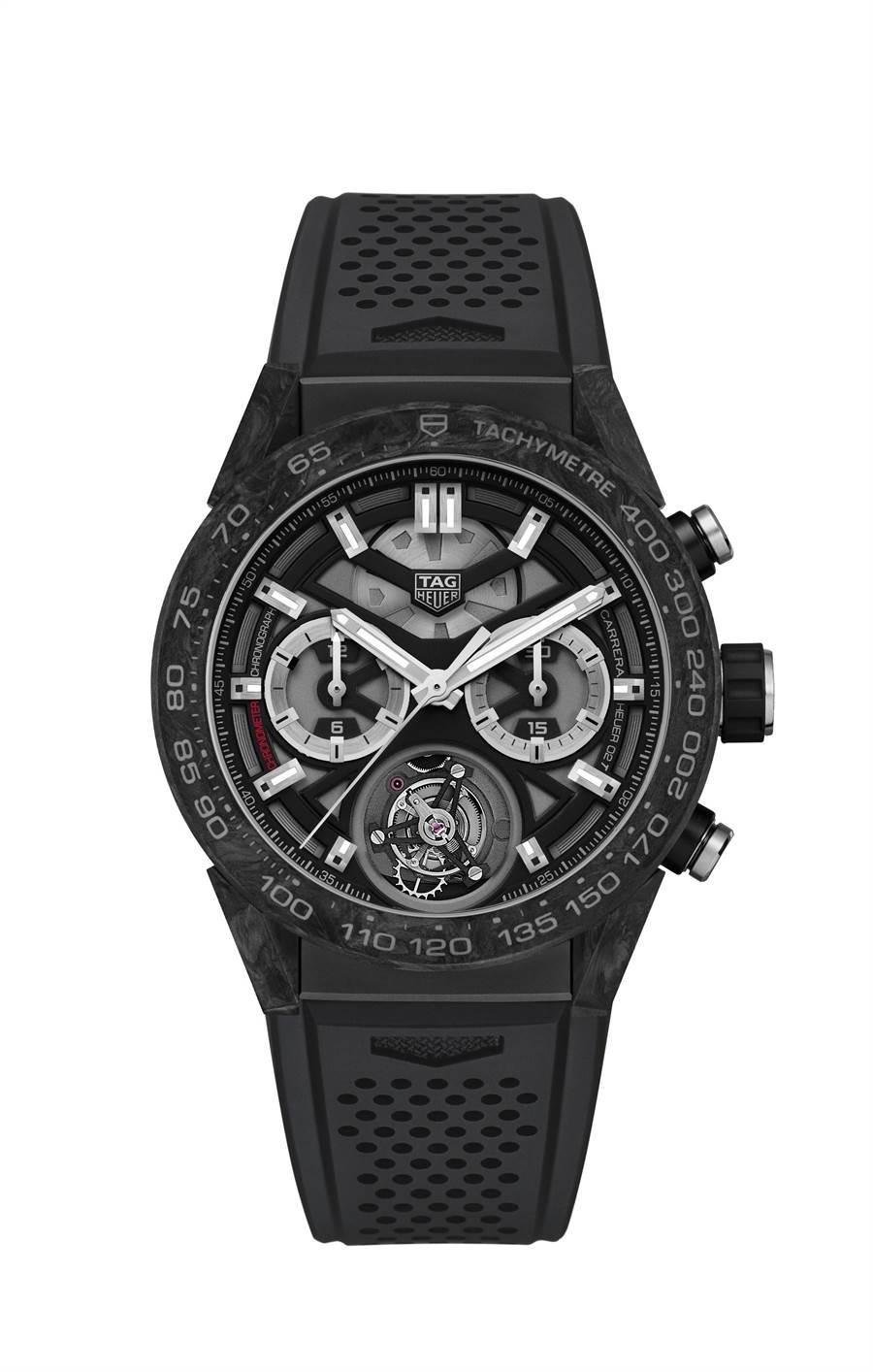 泰格豪雅Carrera Heuer-02T陀飛輪計時碼表,碳材質款式,58萬5500元。(TAG Heuer提供)