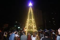 新營文化中心聖誕點燈 民眾搶拍照