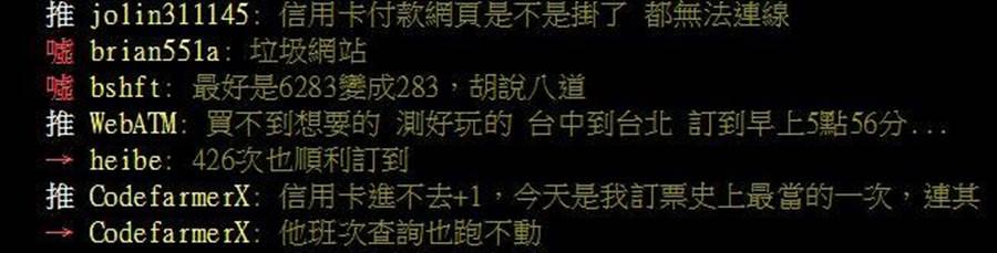 網友在ptt上表示,今天是他訂票史上最當的一次,連其他班次查詢也跑不動。翻攝ptt