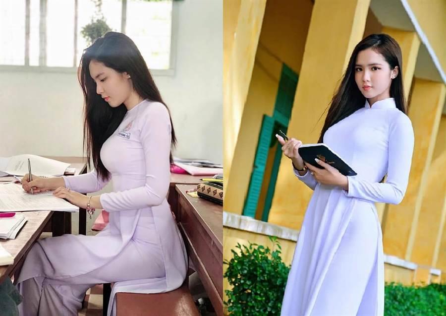 越南使用傳統服飾「奧黛」作為女高中生制服(圖/翻攝自FB/Đinh Triệu Đoan Nghi)