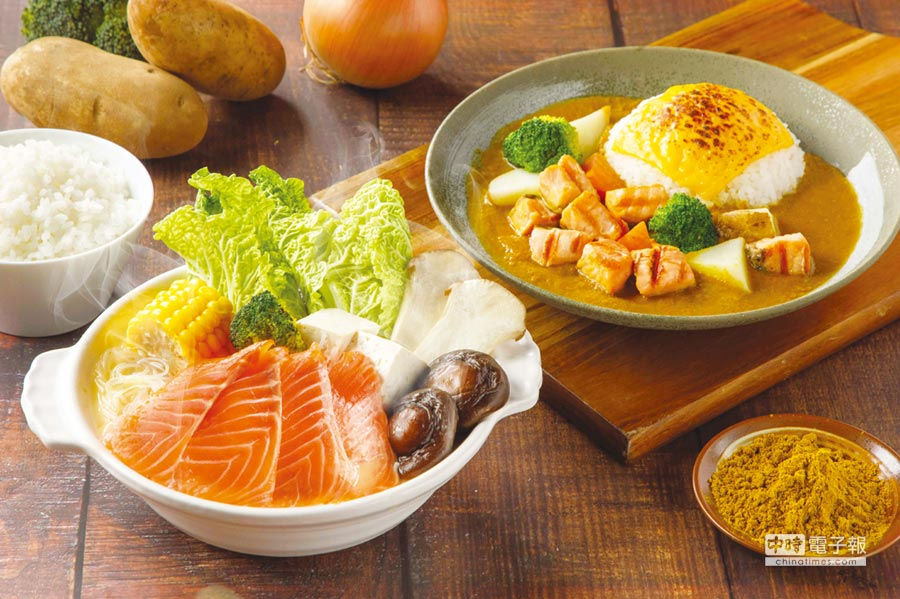 美威鮭魚推出冬季限定的北海道鮭魚石狩鍋及嫩烤鮭魚起司咖哩飯。圖/業者提供
