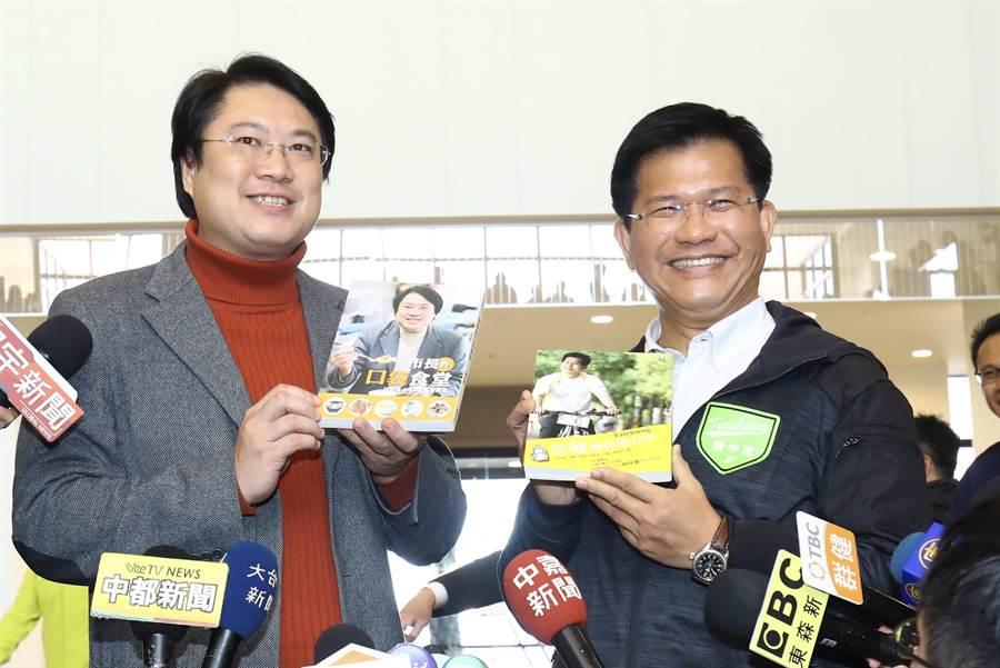 基隆市長林右昌(左)表示,民進黨內沒有保皇黨問題。(陳淑娥攝)