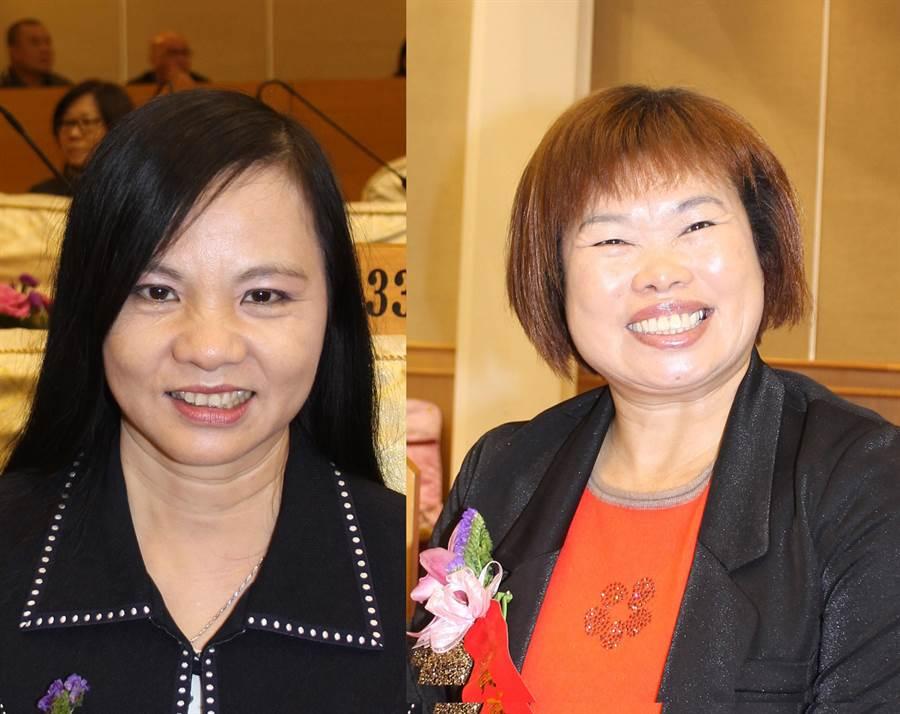 彰化縣議會民進黨團決議推出第3選區資深議員賴清美(左)、尤瑞春(右),參選正、副議長。(吳敏菁攝)