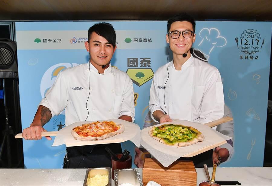 林子偉(左)與知名美食部落客共同上菜。(寶悍運動平台提供)