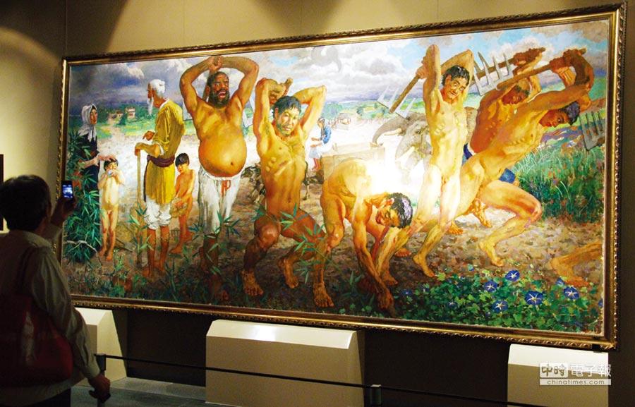 大陸上市公司電廣傳媒旗下子公司更計劃以2億元人民幣的天價,出售大陸現代畫家徐悲鴻名畫「愚公移山」,挽救該公司「被ST」的命運。圖/中新社