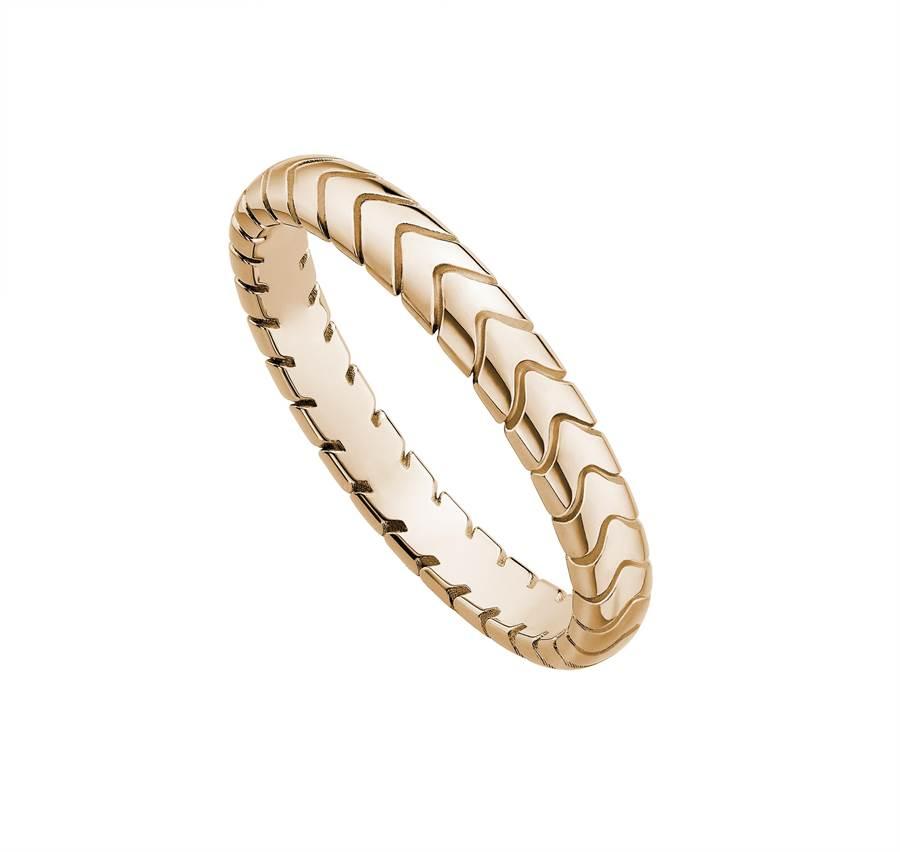 寶格麗Bridal Spiga玫瑰金婚戒對戒,約2萬8400元。(BVLGARI提供)