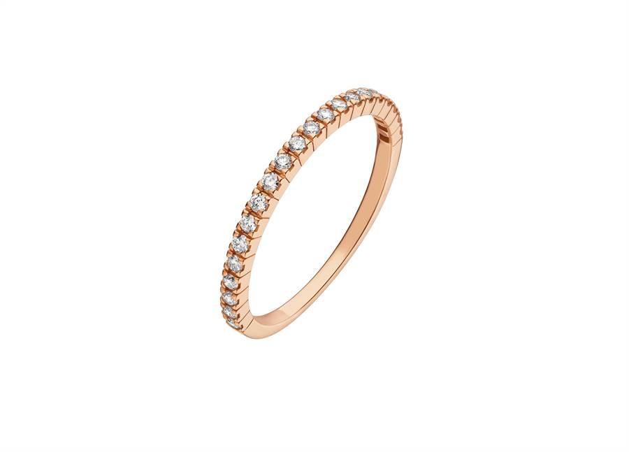 寶格麗Bridal Eternity Band玫瑰金細鑽鑽戒,約4萬9700元。(BVLGARI提供)