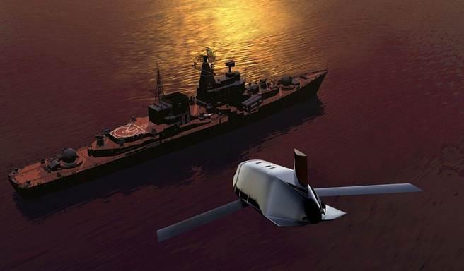 空射型長程反艦導彈攻擊水面艦艇示意圖。(圖/洛馬公司)