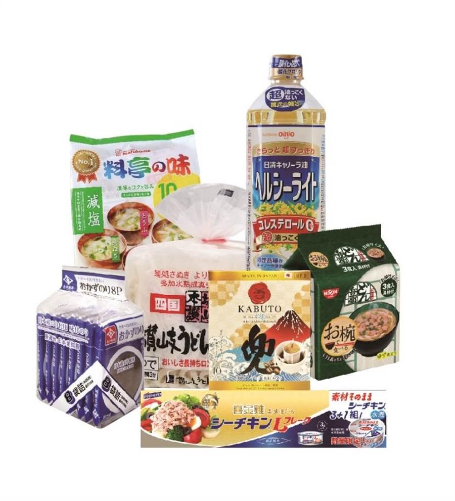 新光三越超市驚喜福袋(獨家限量),有丸米料亭之味元氣味增湯12食、日清菜籽油900ml、永井味付海苔片等。(新光三越提供)