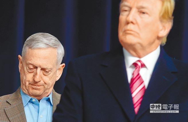 美國防部長馬提斯(左)20日前往白宮勸說川普不要自敘利亞撤軍,遭拒後已遞出辭呈。(法新社)