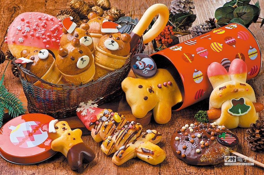 神旺大飯店普諾麵包坊應景耶誕,推出超萌甜點軍團,包含「耶誕兔」、「耶誕熊甜筒」等。(台北神旺大飯店提供)