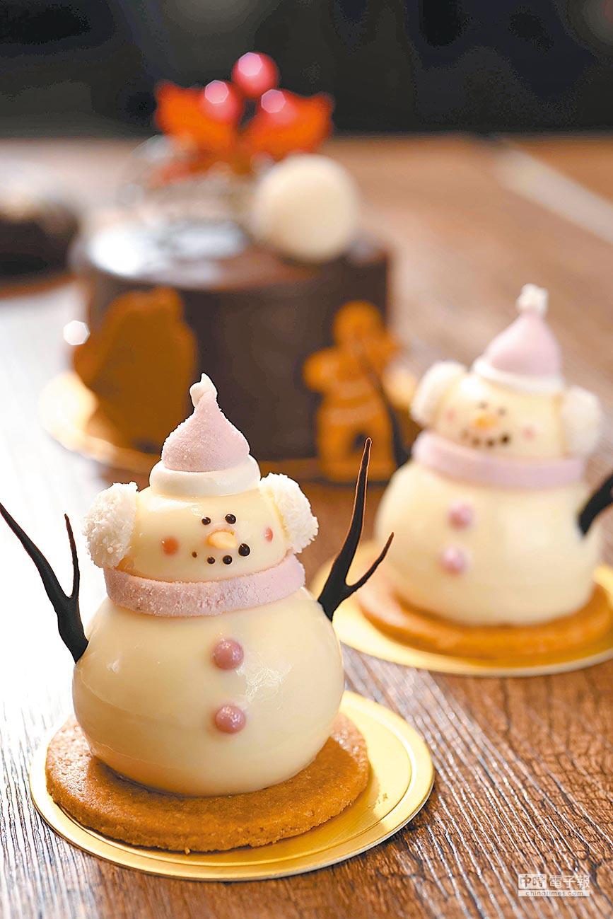 普諾麵包坊推出小雪人慕斯蛋糕,口感多層次。(台北神旺大飯店提供)