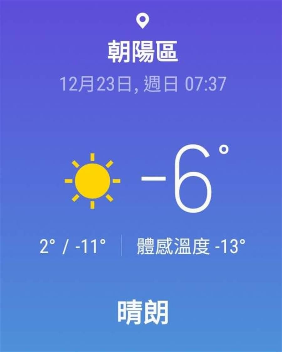 北京今天最高氣溫僅1℃,下周氣溫再下探。(手機天氣預報截圖)