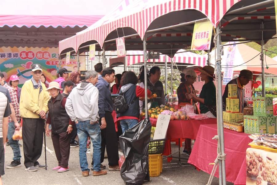 23日在獅潭舉辦「草莓柑橘促銷暨農特產品展售活動」,吸引許多民眾前往。(何冠嫻攝)