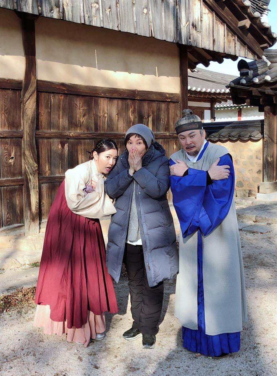 郭亞棠、紅毛日前受唐美雲邀請赴韓國慶州拍攝電視劇,低溫讓他們直呼凍未條。(民視)