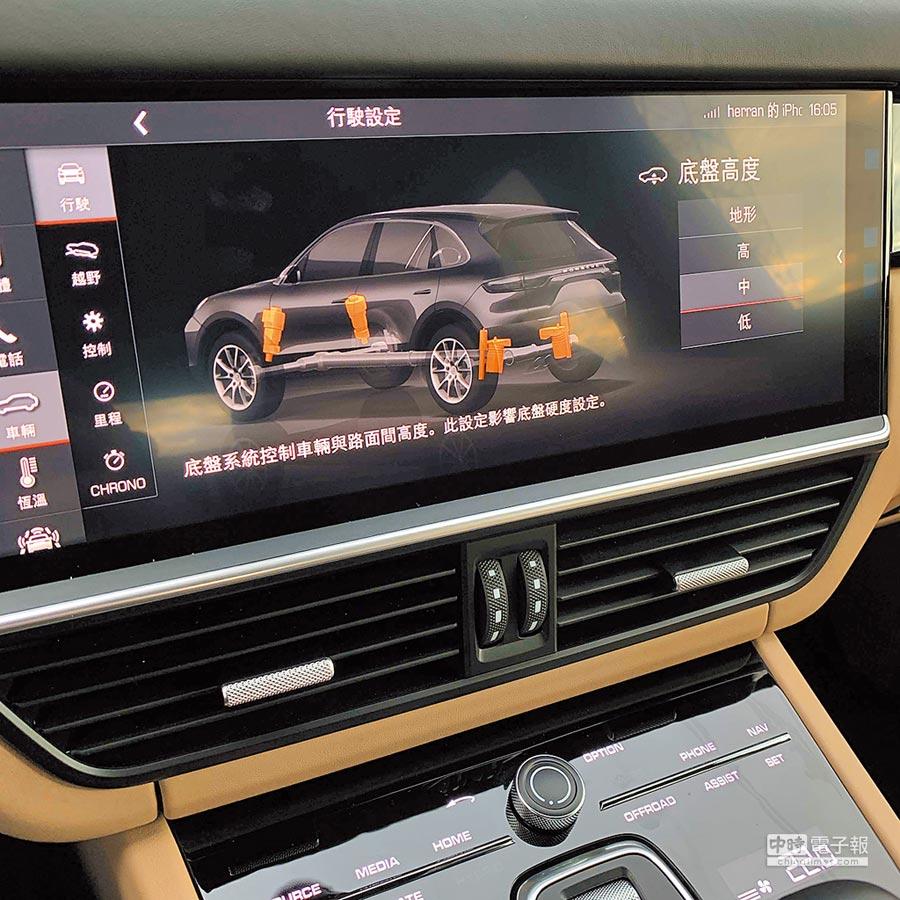 氣壓式懸載系統可經由中控台螢幕調控。(陳大任攝)