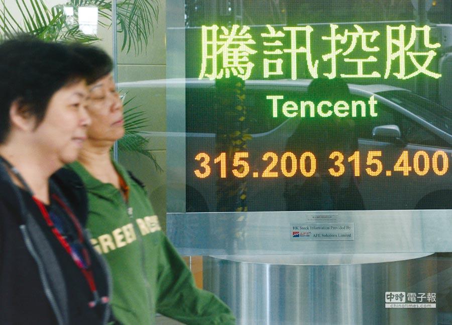 騰訊控股12月21日收港幣315.20元,上周累計上升2.07%。圖/中新社