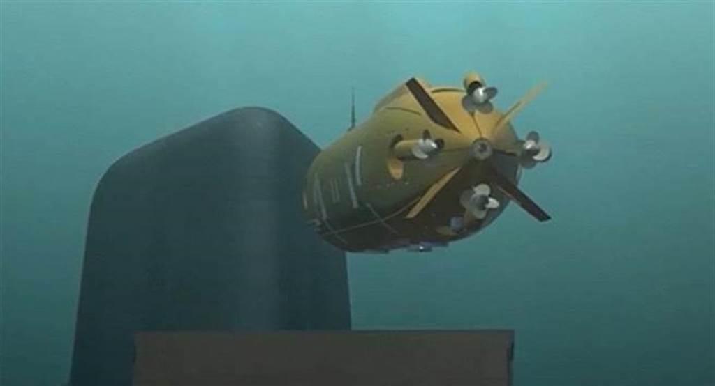 核動力驅動的海神無人潛航器,既無航程限制,亦無需浮出水面,可以長期在隱密的深水區埋伏。圖為俄國防部公布潛航器發射核子魚雷的想像圖。(圖/俄羅斯國防部)