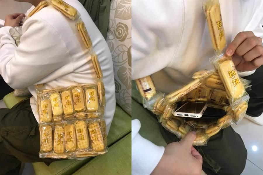 交換禮物收到用旺旺仙貝做成的包包 網友狂讚:好「食」用(圖/翻攝自《爆廢公社》)