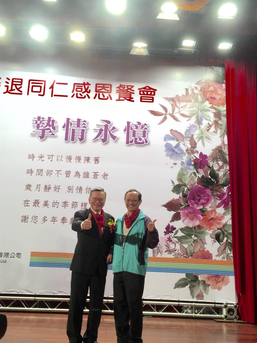 圖說中華電信首度為退休員工舉辦榮退同仁感恩餐會。圖左為中華電信董事長鄭優.圖/林淑惠