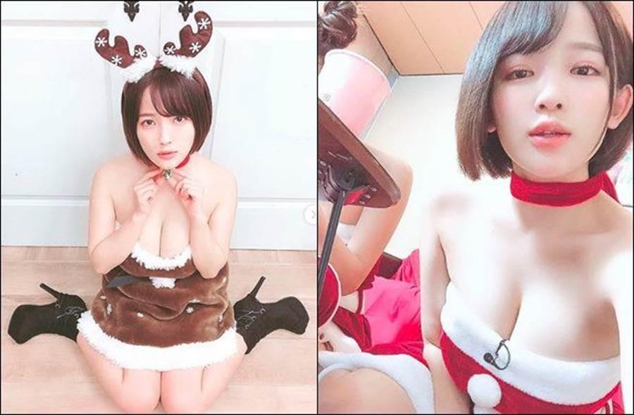 日本I罩杯寫真女星天木純聖誕節扮「人肉聖誕樹與人肉聖誕鹿」引發話題。(圖/翻攝自天木純IG)