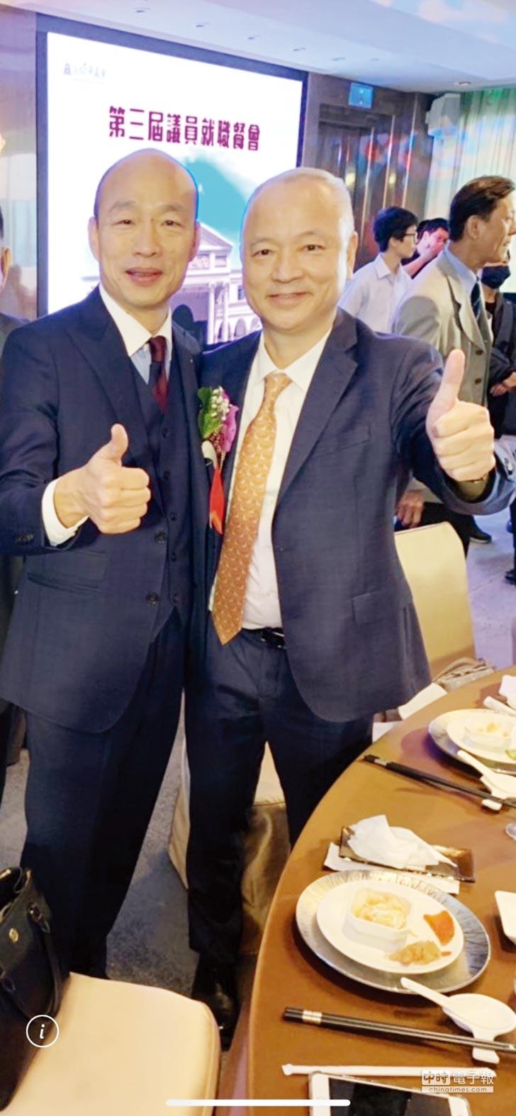 對於高雄市長韓國瑜(左)的課徵城市稅新觀光政策,高雄市旅館公會理事長劉坤福(右)表示相當支持,但建議市府應在不影響觀光客來高雄的意願下,課徵城市稅較為妥當。圖/業者提供