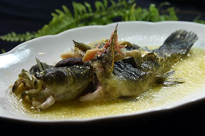 〈申浦尚宴〉的筍殼魚有多種料理方式,圖為用了香煸花瓜清蒸的筍殼魚,利用花瓜為魚餚提味增加鹹香。(圖/姚 舜)