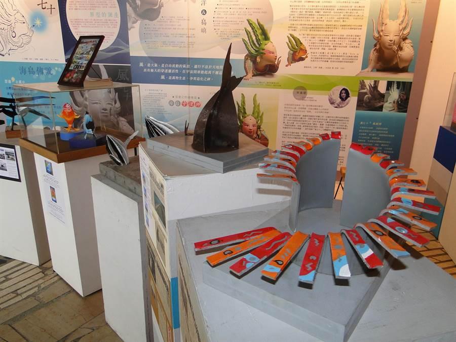 花蓮市維納斯藝廊展示花蓮港濱綠廊道已完成的鐵雕作品模型。(范振和攝)