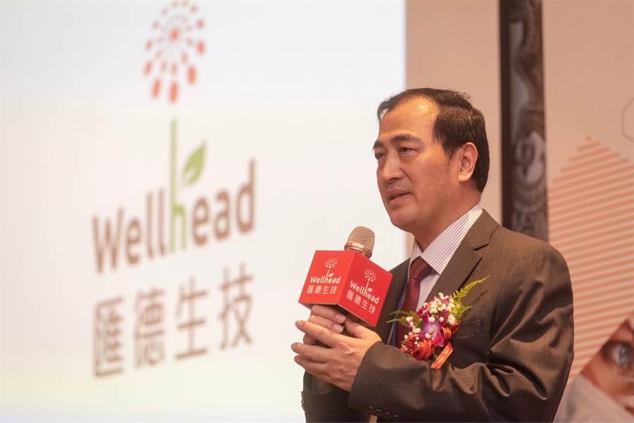 匯德生技理筱龍博士,說明人蔘皂@M1可對抗腎炎。(照片/匯德生技提供)