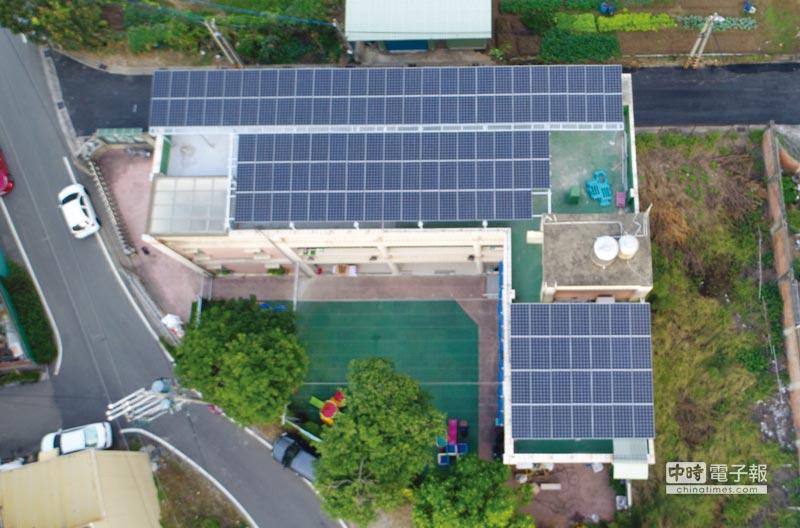 天晴能源為私立惠能幼兒園規劃建置的太陽能光電系統。圖/天晴能源提供
