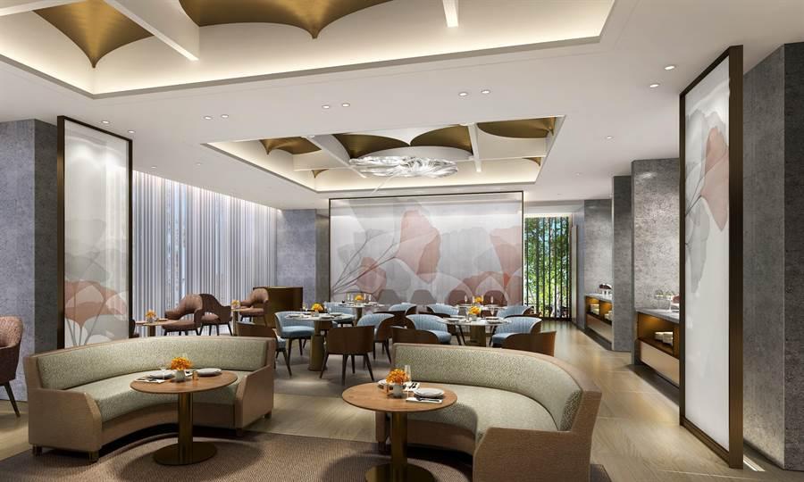「Alley麗」全日餐廳裝潢以銀杏為靈感發想,充滿時尚前衛風格。(圖片提供/台北中山逸林酒店)
