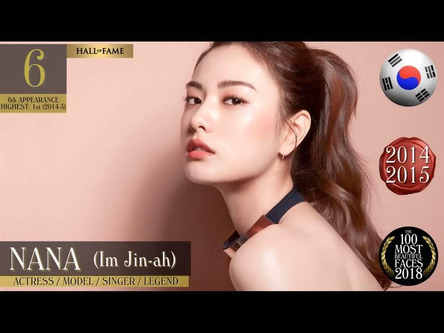 曾蟬聯兩年冠軍的南韓女星Nana今年奪得第6名(圖/翻攝自影片)