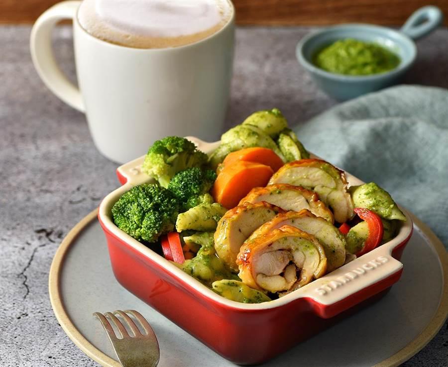 星巴克「時蔬烤雞青醬麵」。圖/業者提供