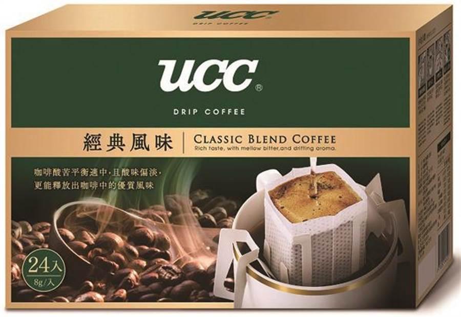 愛買月銷萬盒UCC濾掛咖啡8g x 24入,明年1月8日前特價318元,買1送1。(愛買提供)