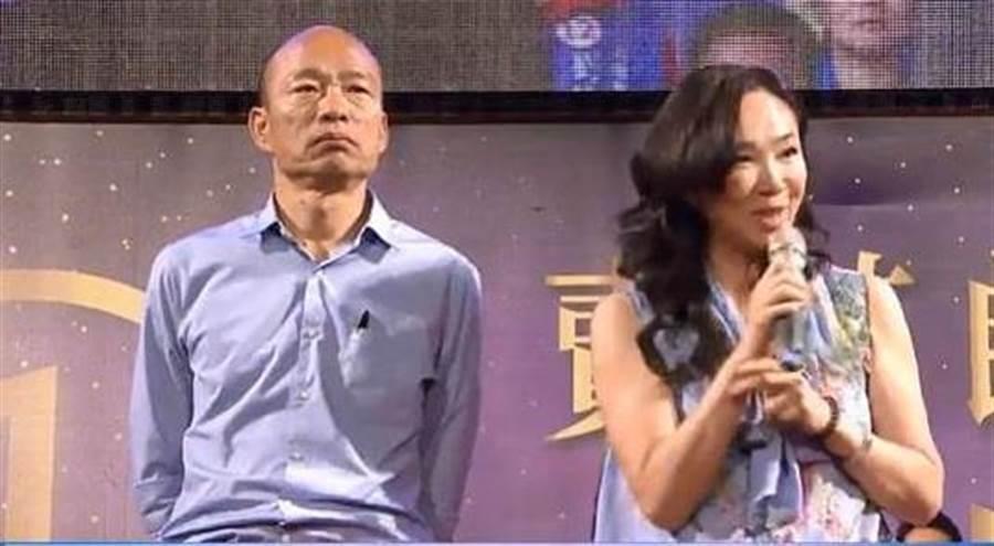 高雄市長韓國瑜(左)、市長夫人李佳芬(右)。(圖/取自中天,報系資料照)