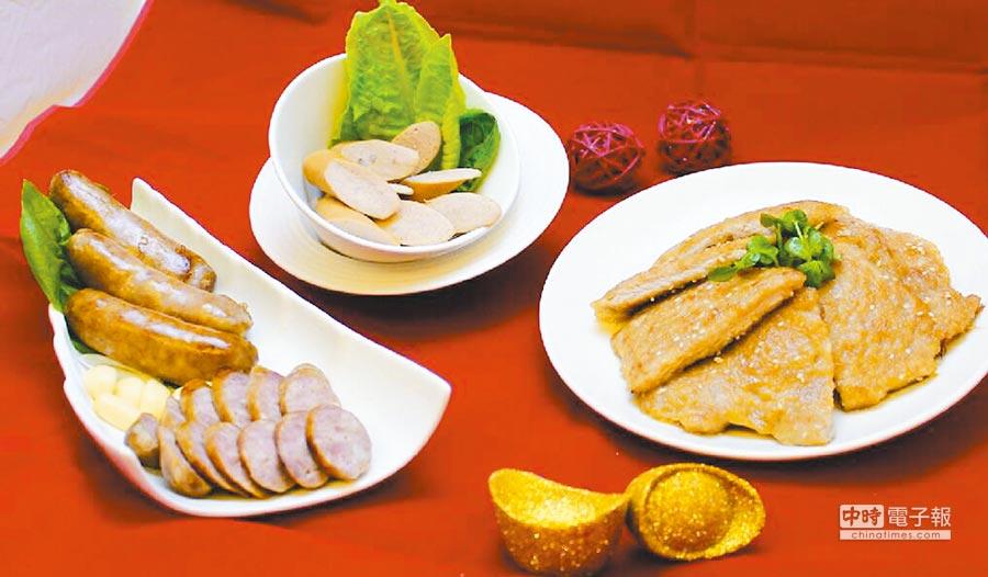 京華城的良食究好新年禮盒如意組,包括金門58高粱香腸、德國香腸、香煎豬排、鋁箔保冷袋,原價924元,特價800元。(京華城提供)