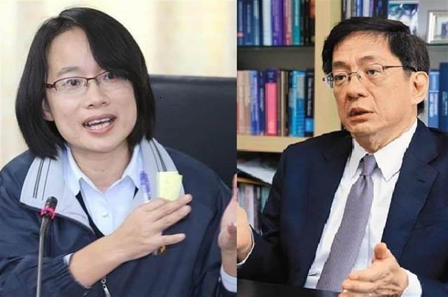 圖為北農總經理吳音寧(左)與台大校長當選人管中閔(右)。(本報系資料照)