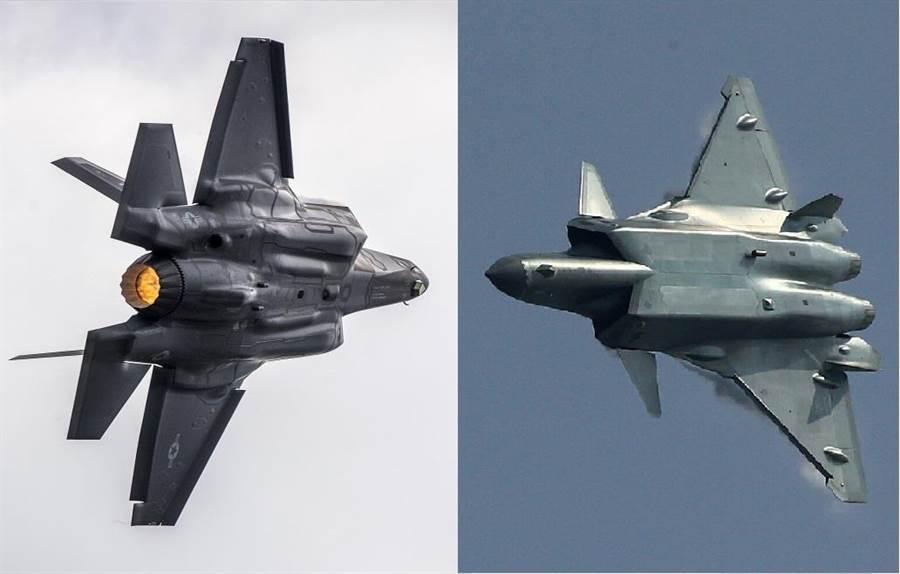 大陸自主研發的殲-20(右)與美國F-35(左)。(圖/合成圖)