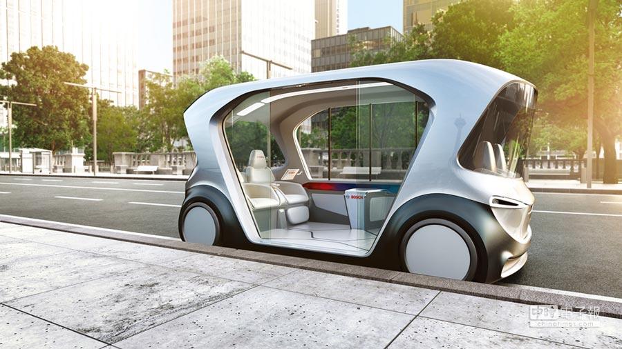博世新型概念接駁車內裝設計為四人空間,四位乘客面對面而坐,以極大化腿部伸展空間,提升舒適性。圖/博世提供