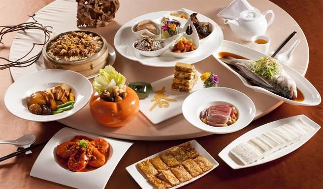 江南春的成套常溫年菜。(台中福華大飯店提供)