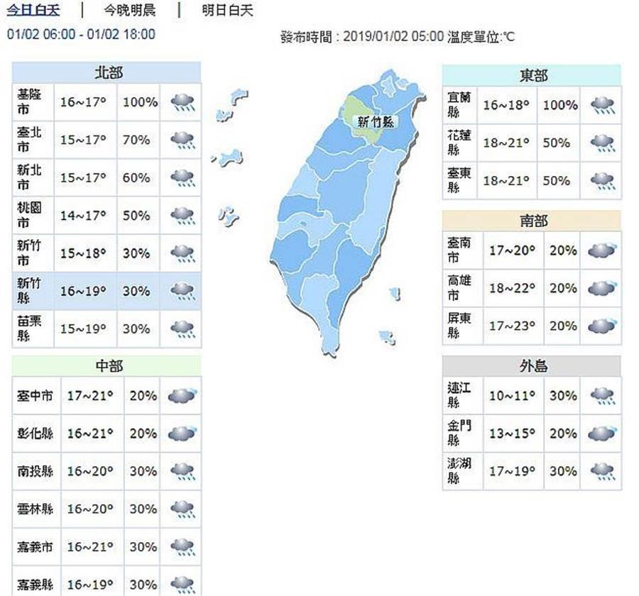 今日仍偏濕涼,中部以北及東北部地區低溫14~16度間。(圖取自氣象局網頁)