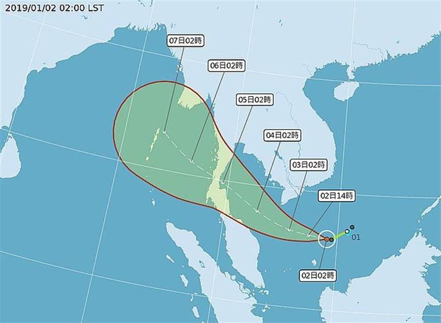 今年第一號颱風號「帕布」生成,未來會朝馬來半島或泰國前進,對台灣不會有直接影響。(圖取自氣象局網頁)