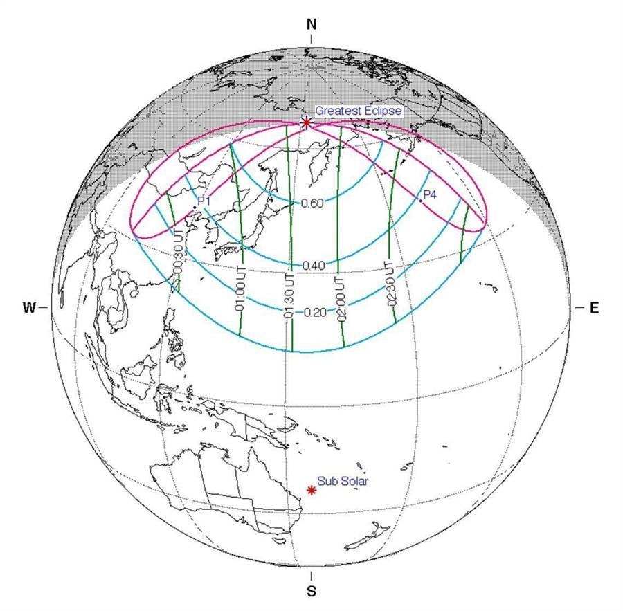 氣象局表示,周日上午有日偏食,嘉義、台東以北看得到。(圖/氣象局提供))