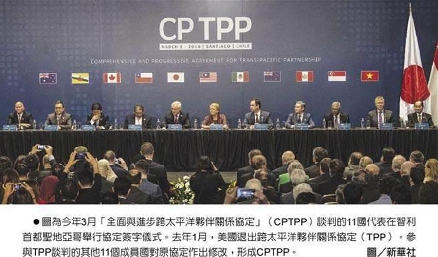 今年3月《跨太平洋夥伴全面進步協定》(CPTPP)談判的11國代表在智利首都聖地亞哥舉行協定簽字儀式。去年1月,美國退出《跨太平洋夥伴關係協定》(TPP)。參與TPP談判的其他11個成員國對原協定作出修改,形成CPTPP。(圖/新華社)