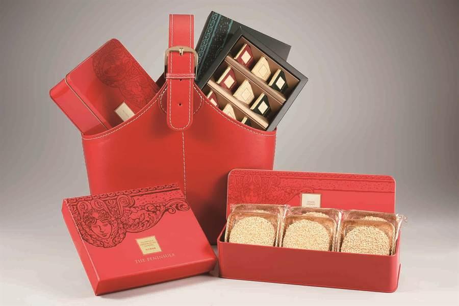 SOGO忠孝館半島精品店尊榮禮籃,有蝴蝶酥禮盒、綜合苦味巧克力、桂花龍鬚糖及芝麻脆餅禮盒。(SOGO提供)